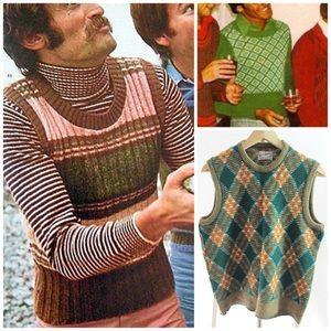 Vintage 70s Men's Orlon Vest by Donmoor Sz Medium